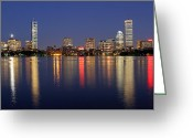 Boston Massachusetts Skyline Skyscrapers Building Office Towers Structures Water Harbor Harbour Reflect Reflection Reflecting Sea Bay Rowes Wharf Tall  Waterfront Day Daytime City Urban New England Greeting Cards - Boston Skyscrapers Greeting Card by Juergen Roth