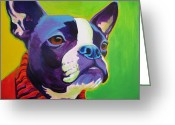 Yellow Dog Greeting Cards - Boston Terrier - Ridley Greeting Card by Alicia VanNoy Call