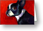 Contemporary Dog Portraits Greeting Cards - Boston Terrier dog portrait 2 Greeting Card by Svetlana Novikova