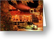 Night Scene Greeting Cards - Bottega Night 4 Greeting Card by Mars Lasar
