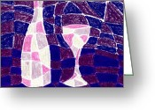Expressive Pastels Greeting Cards - Bottle and Glass 3 Greeting Card by Hakon Soreide