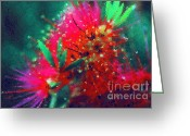 Pressing Greeting Cards - Bottle Brush Greeting Card by Zeana Romanovna