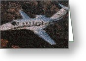 Jets Pyrography Greeting Cards - Bottle Cap Cessna Citation Mosaic Greeting Card by Paul Van Scott