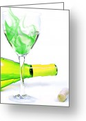Pouring Greeting Cards - Bottle Glass with Smoke and Cork Greeting Card by Marius Sipa