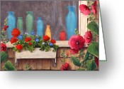 Hollyhock Greeting Cards - Bottles and Flowers Greeting Card by Elaine Farmer