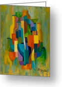 Geometric Painting Greeting Cards - Bottles and Glasses Greeting Card by Larry Martin