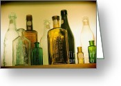 Green Tag Greeting Cards - Bottles Greeting Card by Sophie Vigneault