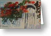 Sarasota Mixed Media Greeting Cards - Bougainvillea at my Beach Cottage Greeting Card by Jill Morris