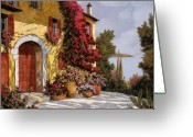 Red Greeting Cards - Bouganville Greeting Card by Guido Borelli