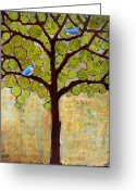 Circle Greeting Cards - Boughs in Leaf Tree Greeting Card by Blenda Tyvoll