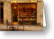 Shop Greeting Cards - Boulangerie and Bike Greeting Card by Mick Burkey