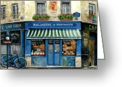 Cat Painting Greeting Cards - Boulangerie de Montmartre Greeting Card by Marilyn Dunlap