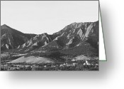 Colorado Prints Greeting Cards - Boulder Colorado Flatirons and CU Campus Panorama BW Greeting Card by James Bo Insogna