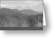 Farm Fields Greeting Cards - Boulder County Colorado Layers Panorama BW Greeting Card by James Bo Insogna