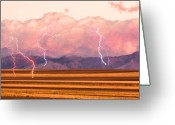 Lightening Storm Greeting Cards - Boulder County Farm Fields Lightning Fantasy Greeting Card by James Bo Insogna