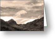 Sunset Posters Photo Greeting Cards - Boulder County Indian Peaks Sepia Image Greeting Card by James Bo Insogna