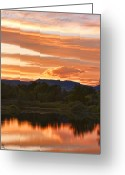 Landscape Posters Greeting Cards - Boulder County Lake Sunset Vertical Image 06.26.2010 Greeting Card by James Bo Insogna