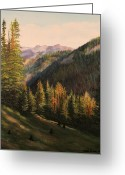Pine Trees Painting Greeting Cards - Boulder Pass Greeting Card by Patti Gordon