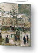 Raining Painting Greeting Cards - Boulevard de Rocheouart in Snow Greeting Card by Camille Pissarro