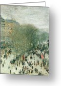 Carriage Greeting Cards - Boulevard des Capucines Greeting Card by Claude Monet