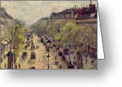 Nineteenth Greeting Cards - Boulevard Montmartre Greeting Card by Camille Pissarro