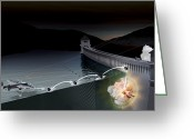 Raf Greeting Cards - Bouncing Bomb Raid, Artwork Greeting Card by Claus Lunau