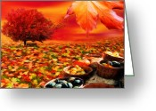 Autumnal Digital Art Greeting Cards - Bounteous Greeting Card by Lourry Legarde