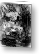 Happy New Year Greeting Cards - Bouquet and Beads BW Greeting Card by DigiArt Diaries by Vicky Browning