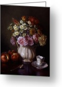 Cent Greeting Cards - Bouquet and Dresden Cup Greeting Card by Lyndall Bass