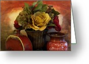 Red Roses Greeting Cards - Bouquet DeCor ll Greeting Card by Marsha Heiken