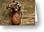 Sage Green Greeting Cards - Bouquet in Italian Pitcher Greeting Card by Marsha Heiken