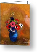 Redon Greeting Cards - Bouquet of Anemones Greeting Card by Pg Reproductions