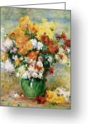 Oil Canvas Greeting Cards - Bouquet of Chrysanthemums Greeting Card by Pierre Auguste Renoir