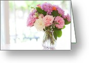 Chrysanthemum Greeting Cards - Bouquet Of Flowers On Table Near Window Greeting Card by Jessica Holden Photography