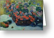 Gauguin Greeting Cards - Bouquet of Flowers Greeting Card by Paul Gauguin