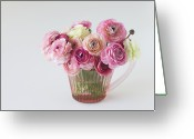 Vase Of Flowers Greeting Cards - Bouquet Of  Pink Ranunculus Greeting Card by Elin Enger