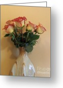 Cream Roses Greeting Cards - Bouquet Of Red Tipped Roses Greeting Card by Marsha Heiken