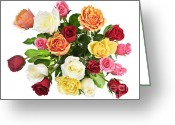 Pink Flower Branch Greeting Cards - Bouquet of roses from above Greeting Card by Elena Elisseeva
