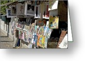 Ile De France Greeting Cards - Bouquiniste book seller at quays of Seine Paris Greeting Card by Bernard Jaubert
