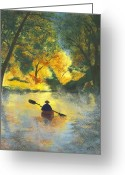 River Pastels Greeting Cards - Bourbeuse River Sunrise Greeting Card by Garry McMichael