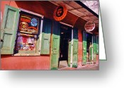 Store Fronts Greeting Cards - Bourbon Stree Shops Greeting Card by John Malone