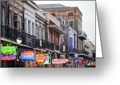 Clubs Greeting Cards - Bourbon Street At Dusk Greeting Card by Taylor S. Kennedy