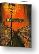 Bourbon Greeting Cards - Bourbon Street lamp post Greeting Card by Catherine Wilson