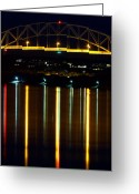 Cape Cod Mass Photo Greeting Cards - Bourne Bridge at Night Cape Cod Greeting Card by Matt Suess
