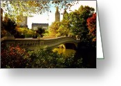 Gorgeous Greeting Cards - Bow Bridge - Autumn - Central Park Greeting Card by Vivienne Gucwa
