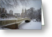 Landscapes Greeting Cards - Bow Bridge Central Park in Winter  Greeting Card by Vivienne Gucwa