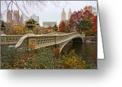 Lake Park Greeting Cards - Bow Bridge In Central Park Greeting Card by June Marie Sobrito