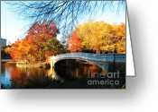 Eutemey Greeting Cards - Bow Bridge In Central Park Greeting Card by Kendall Eutemey