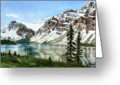 Rocky Mountains Greeting Cards - Bow Lake Alberta No.2 Greeting Card by Debbie Homewood