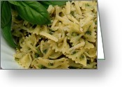 James Temple Greeting Cards - Bow Tie Pasta with Pesto Sauce Greeting Card by James Temple